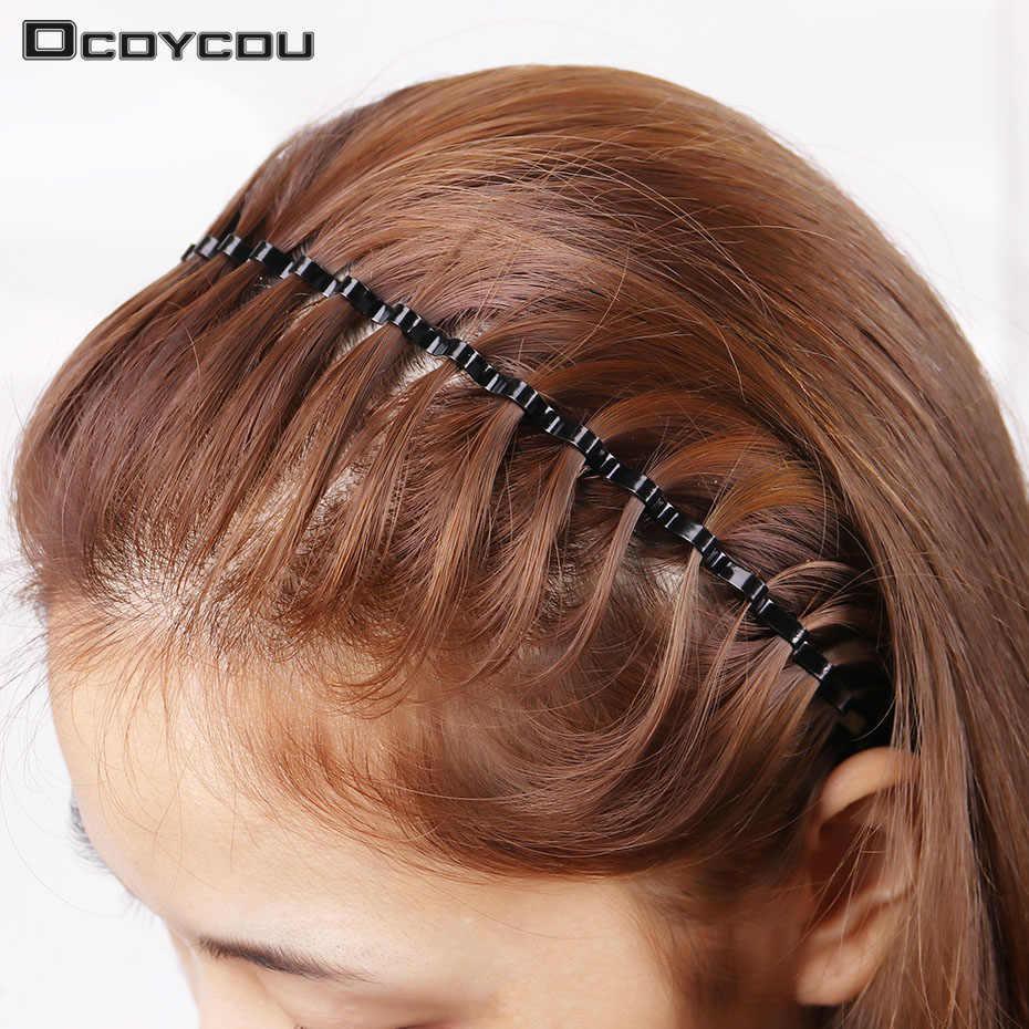 แฟชั่นบุรุษสตรี Unisex สีดำหยักผม Hoop กีฬา Headband Hairband อุปกรณ์เสริมผม