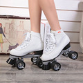 F1 racing skates skates adult female Breathable figure skating roller skates leather with middle-heel double PU rollers