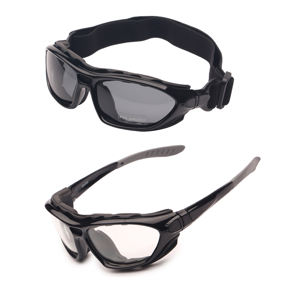 Motor Cycle Goggles Polarized Clear 2 Pairs Day Night, Helm Glasses Verwisselbare Tempels Strap, Road Racing Zonnebril