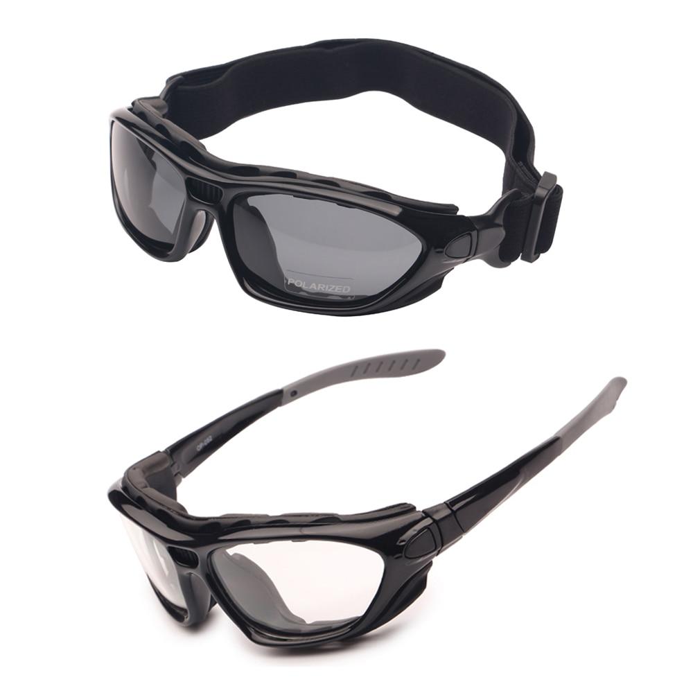 Motor Cycle Ochelari de protecție Polarizat Clear 2 perechi Ziua de noapte, ochelari casca Temple interschimbabile curea, ochelari de soare Racing Road