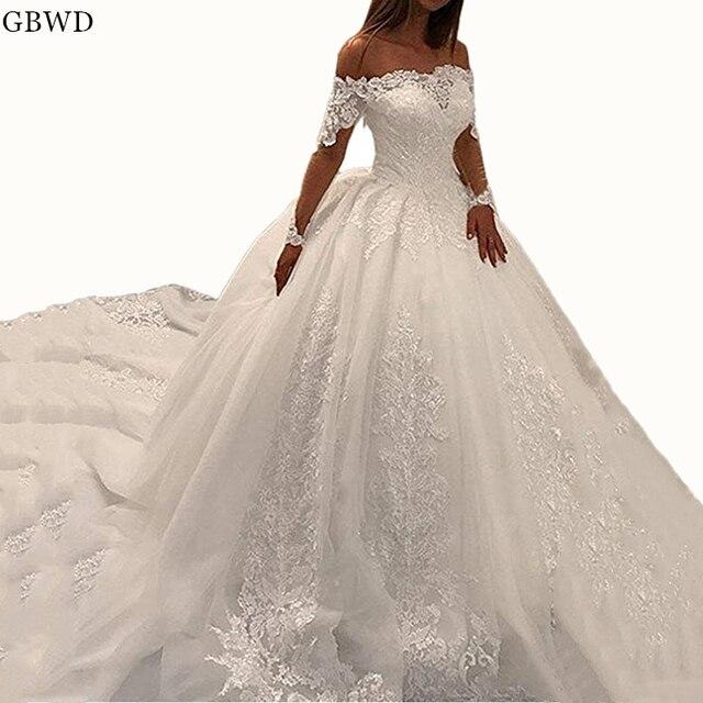 7e3bbd748b Eleganckie Sexy suknie ślubne w kolorze kości słoniowej 2018 suknia balowa  eleganckie koronkowe aplikacje Boat Neck