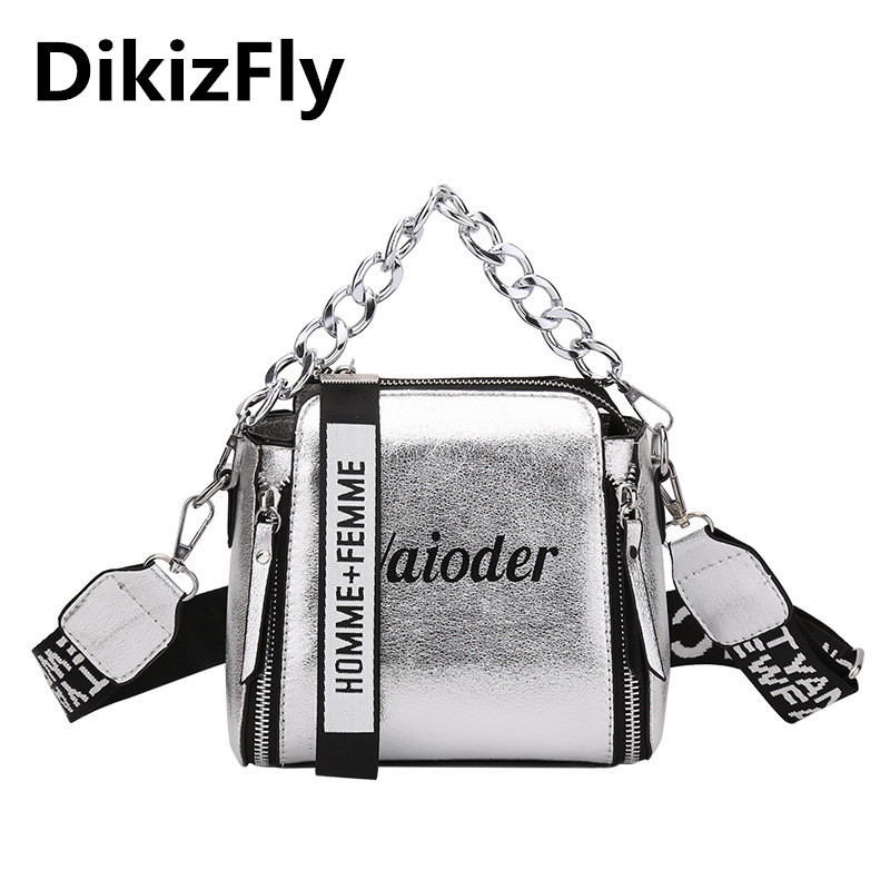 DikizFly láser mujeres bolsos de moda de lujo bolsos de hombro cadenas Crossbody bolso mujeres 2018 carta Mini Flap bolsa feminina