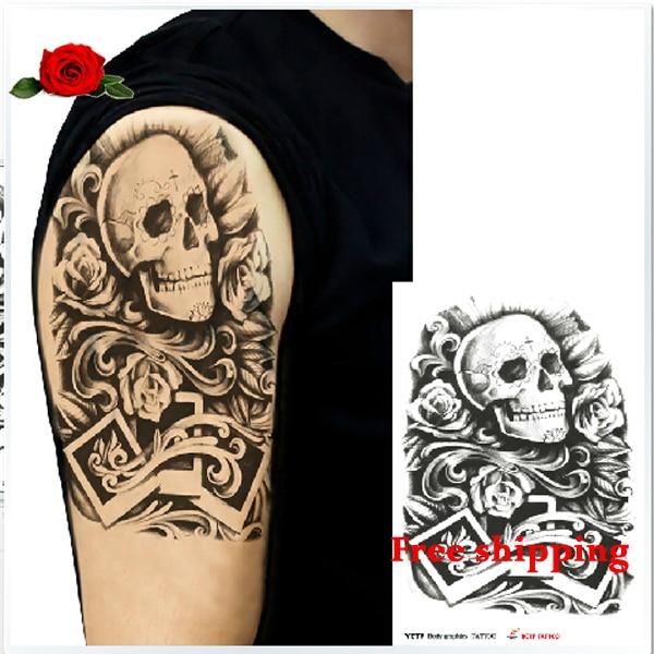 44dbc8703 Sex product fashion waterproof skull tatoo stickers Angry Eyes Skull  Tattoos men and women in body painting simulation tatuagem