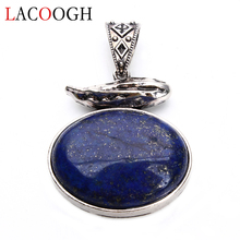 New Fashion Lapis Lazuli Natural Stone Antique Silver Alloy 42*61mm Pendants for Women Men Necklaces DIY Crafts Jewelry Findings fnj 925 silver flower pendant new fashion lapis lazuli stone pure s925 solid thai silver pendants for women men jewelry making