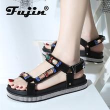 Fujin 2019 Summer New Water Drill Sandals Women Magic Paste Diamond Increase Thick Bottom Shoes Flat Dropshipping Fashion Sandal