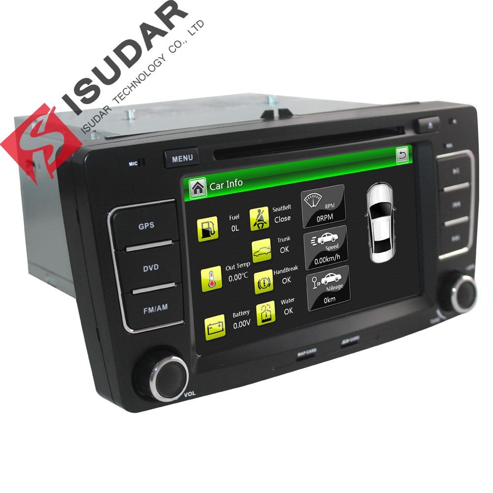 Isudar Voiture Multimédia Lecteur GPS 2 Din Pour Octavia/SKODA Canbus Bluetooth Ipod Radio RDS WIFI USB SD Directeur roue Contrôle DVR