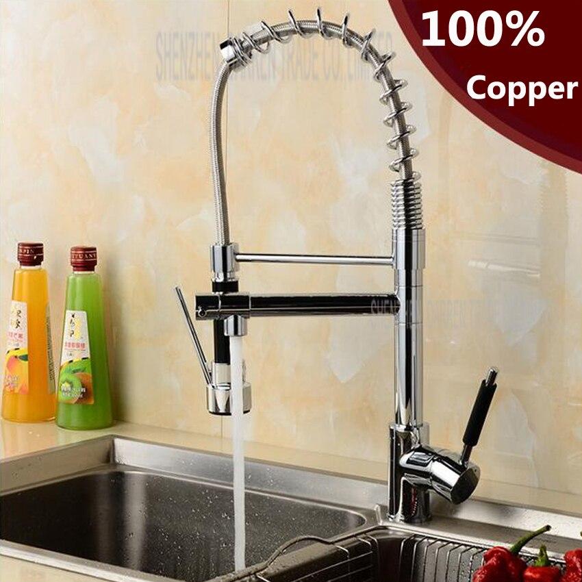 1 pc Chrome Finish Dual Spout Kitchen Sink Faucet Deck Mount Spring Kitchen Mixer Tap