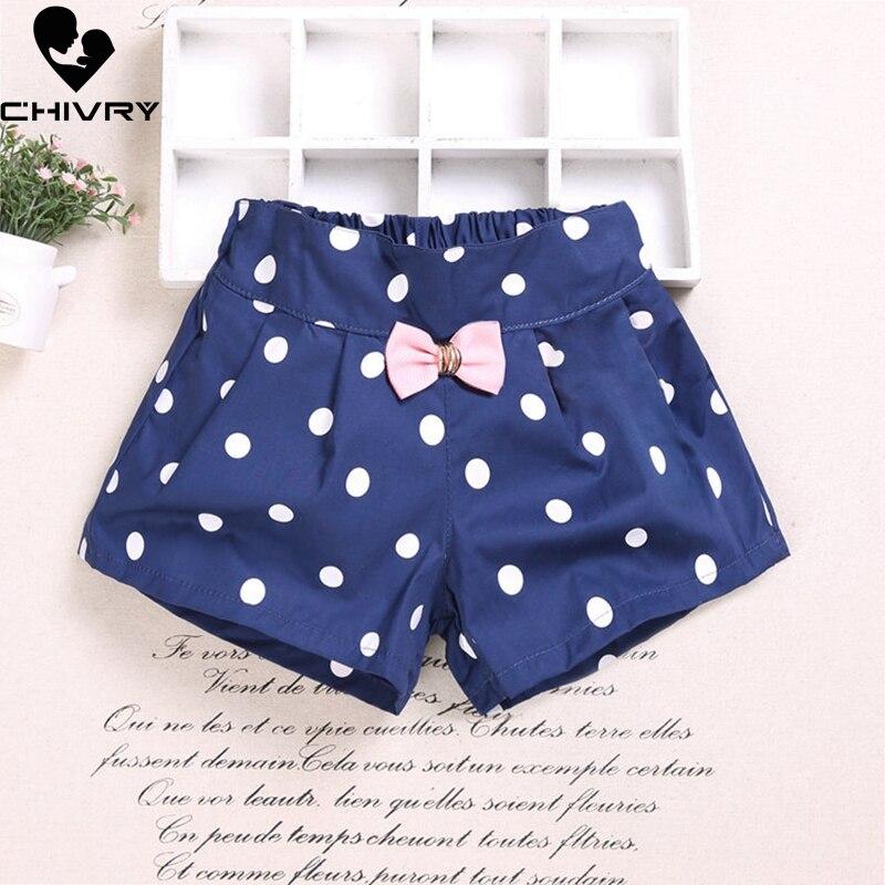 New 2019 Girls Summer Beach Shorts Kids Baby Girls Heart Dot Print Bow Shorts Little Girls Children Fashion Short Pants Clothes