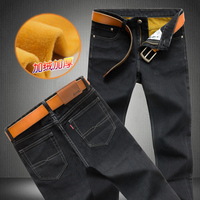 Large Size Men Winter Fleece Thick Warm Jeans New Fashion Male Straight Slim Denim Trousers Black