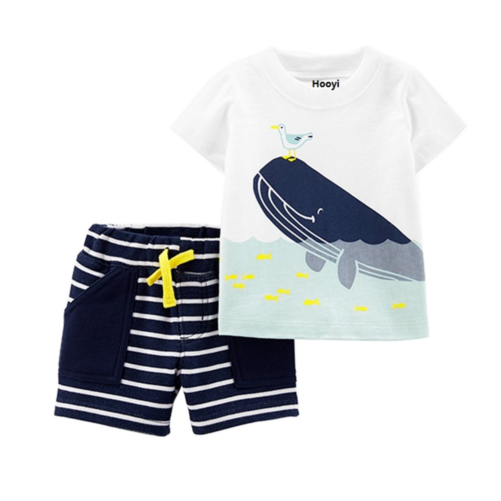 2pcs Infant Whale Shorts Set Toddler Boys Girls Cartoon Animal Whale Sleeveless Tops Waves Shorts Outfits