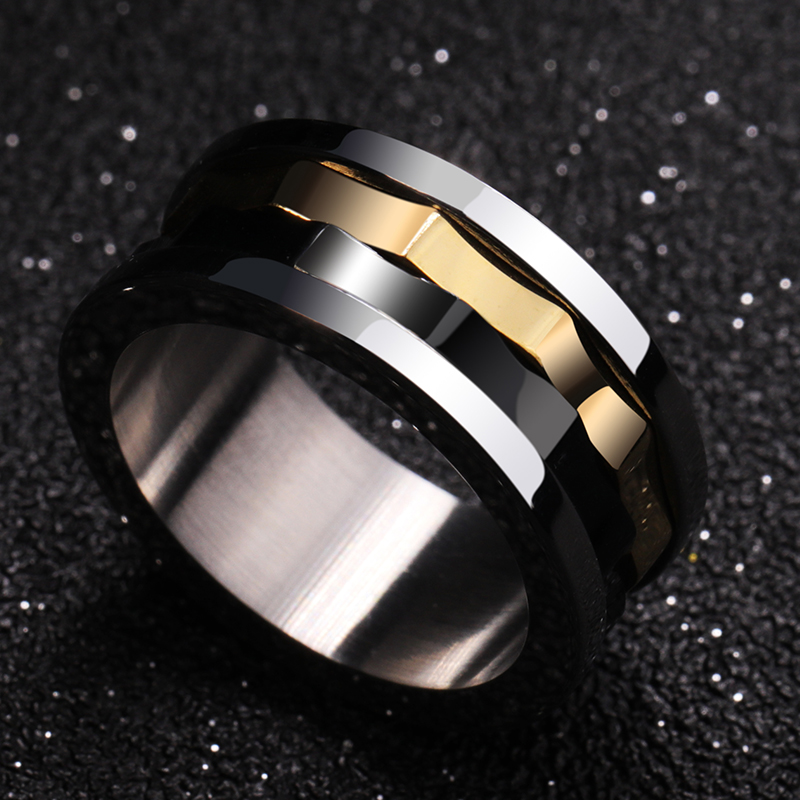 2018 New Design 8mm Width Tungsten Carbide Rings with Black and Gold Colors Rotary Gear Lucky Rings for Man's Gift Size 7-10