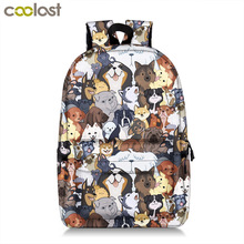 kawaii puppy dogs school backpack for teenager boy girl pug / bulldog / Bull Terrier children school bags backpack kids book bag cute kitten cats puppy dogs print backpack pencil bag for teenager boy girl children school bags kids bookbag women backpack