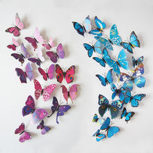 3D PVC Butterfly Wall Stickers Home Decor Butterfly Wall Decals For Kids Room TV Wall Stickers Kitchen Kids Wall Sticker Flower(China)