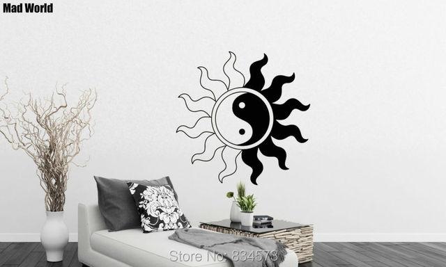 Mad wereld zon yin yang zen aziatische oosterse wall art stickers