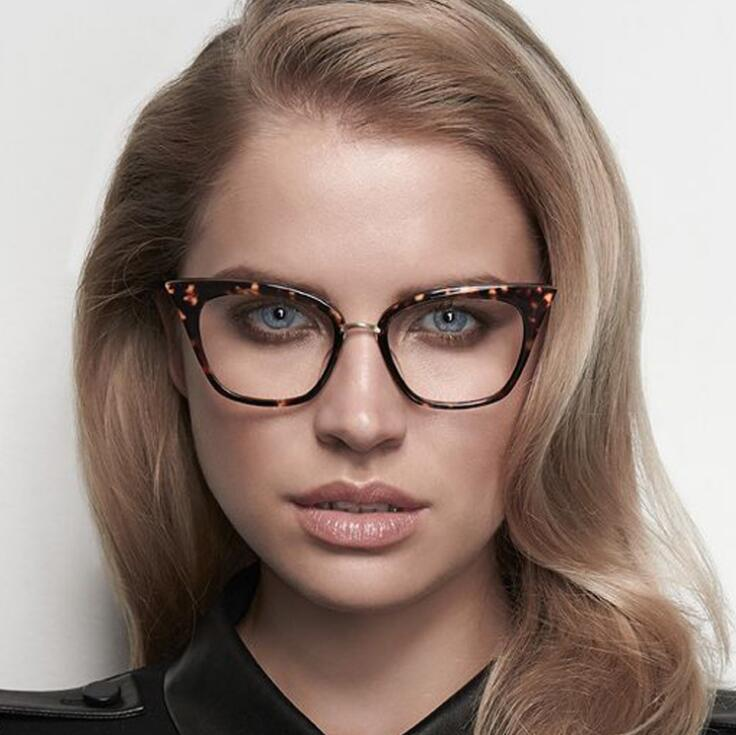 Stylish Elegant Black Cat Eye Women Eyeglasses Clear Lens