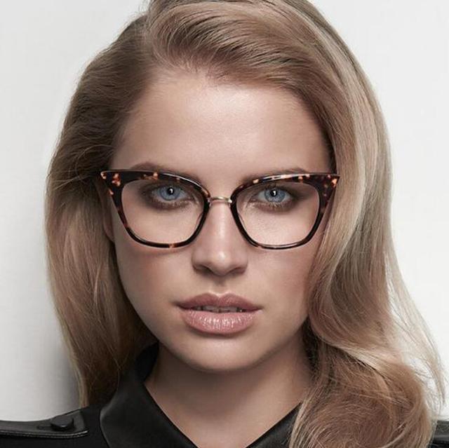 214f1307198d Élégant Élégant Noir Cat Eye Femmes Lunettes Lentille Claire Monture de lunettes  2016 Mode Femme Lunettes