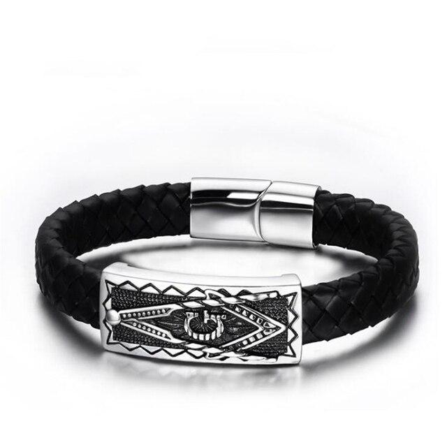 JewelryWe Mens Womens Stainless Steel Leather Masonic Freemason Bracelet Braided Chunky Bangle, Magnetic Clasp