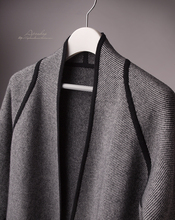 100% cashmere twill knit long cardigan sweater belt overcoat