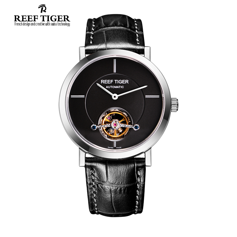 Reef Tiger/RT Tourbillon Casual Watch For Men Business Automatic Watches Ultra Thin Steel Watch with Leather Strap RGA1610 tian wang leather strap automatic mechanical watch for business casual men with ss see through case back gs5789s d