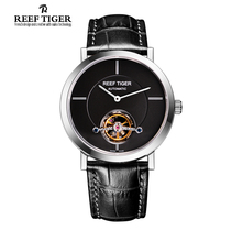 Reef Tiger/RT Tourbillon Casual Watch For Men Business Automatic Watches Ultra Thin Steel Watch with Leather Strap RGA1610