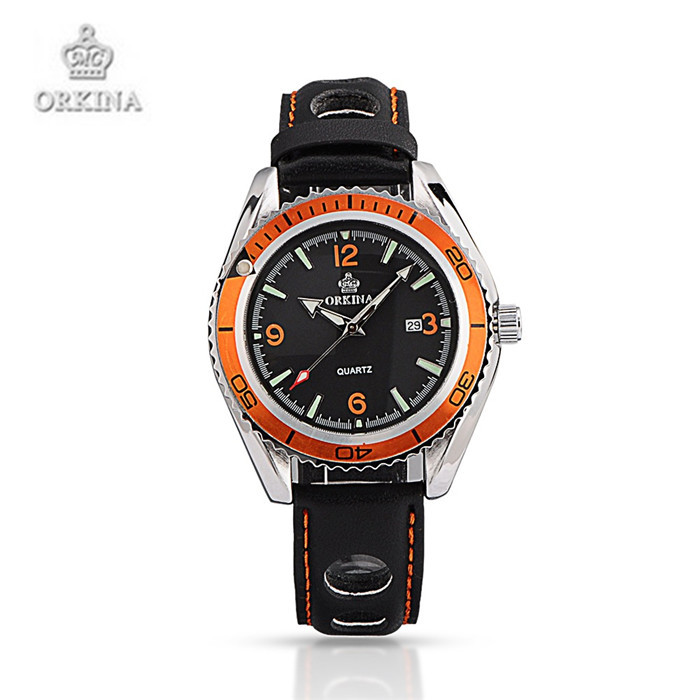 Watches Men Women ORKINA Band Quartz WristWatch Date Display Pierced Summer Sports For Black Color