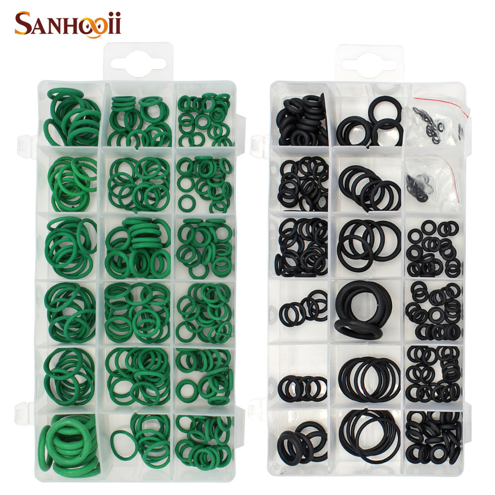 SANHOOII 495PCS 36 Sizes O-ring Kit Black&Green Metric O Ring Seals Nitrile Rubber O Ring Gaskets Oil Resistance 270pcs + 225pcs