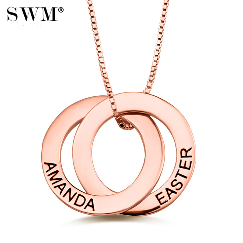 Women's Custom Name Russian Circle Necklace Interlocking Circles Necklaces Personalized Letter Pendant Jewelery Rose Gold Chain цены онлайн