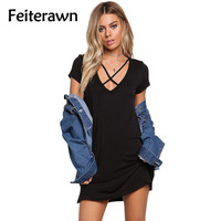 Feiterawn 2017 Summer Women Sexy Casual Jersey Knit Cross Strap Tunic Top Short Sleeve Plus Size