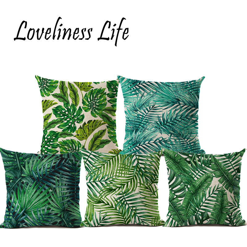 Amazing Us 4 57 42 Off Nordic Green Leaves Cushion Covers Plants Cactus Pineapple Palm Leaf Sofa Pillow Throw Linen Pillow Case Almofadas Cojines In Cushion Ocoug Best Dining Table And Chair Ideas Images Ocougorg