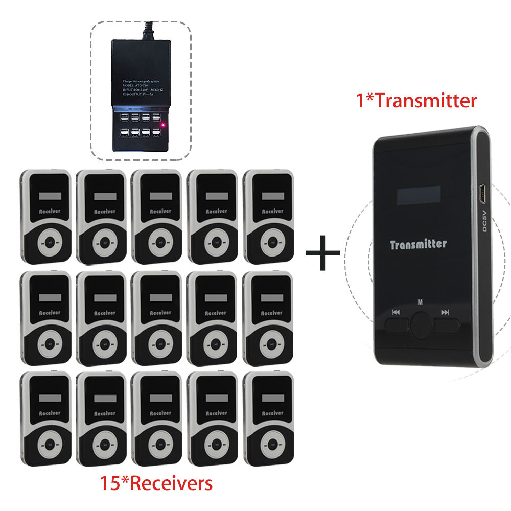 Free Charger ATG100 Wireless Tour Guide System 1Transmitter+15 Receivers For Meeting Visiting Teaching 195-230MHz Portable dhl shipping atg100 portable mini meeting tourism teach microphone wireless tour guide system 1transmitter 15 receivers charger