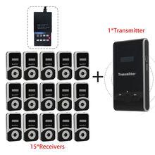 Cargador libre ATG100 Guía Inalámbrica Tour System 1 Transmisor + 15 Receptores Para Reunión Visitando la Enseñanza 195-230 MHz portátil