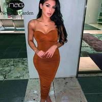 NewAsia Double Layers Sexy Bodycon Dress Women Long Elegant Dress 2019 Summer Ruched Brown Dresses Woman Party Night Club Dress