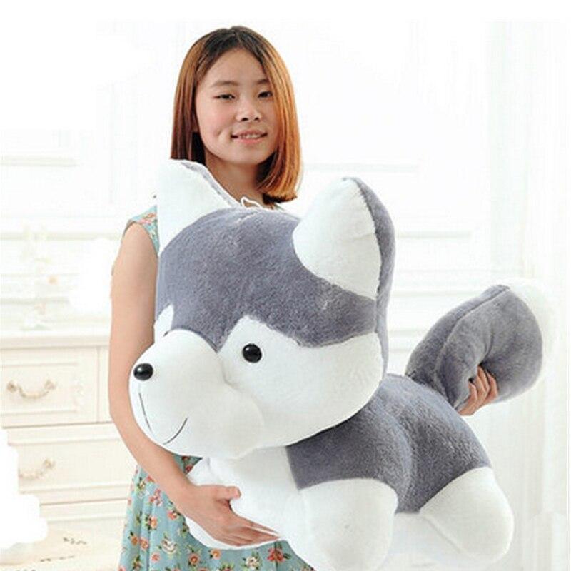 Fancytrader 90 см гигантские имитация игрушечная Лайка плюшевые игрушки 35 дюймов Большой чучела Мультфильм кукла для собак с колокольчиком, подарки на день ребенка