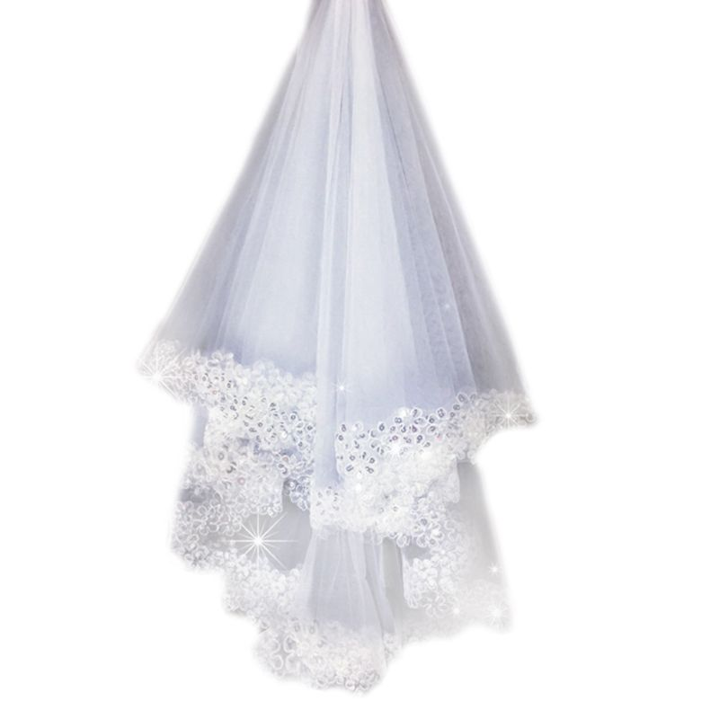 1.5M 1 Layer Women Bridal White Long Wedding Tulle Veil Glitter Sequins Embroidered Plum Blossom Edge Marriage Solid Color HM