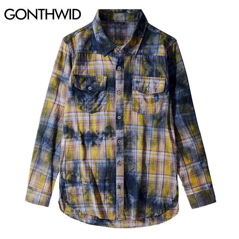 GONTHWID Distressed Tie Dye Plaid Long Sleeve Shirts Hip Hop Punk Rock Streetwear Shirt Fashion Casual Outwear Men Hipster Tops