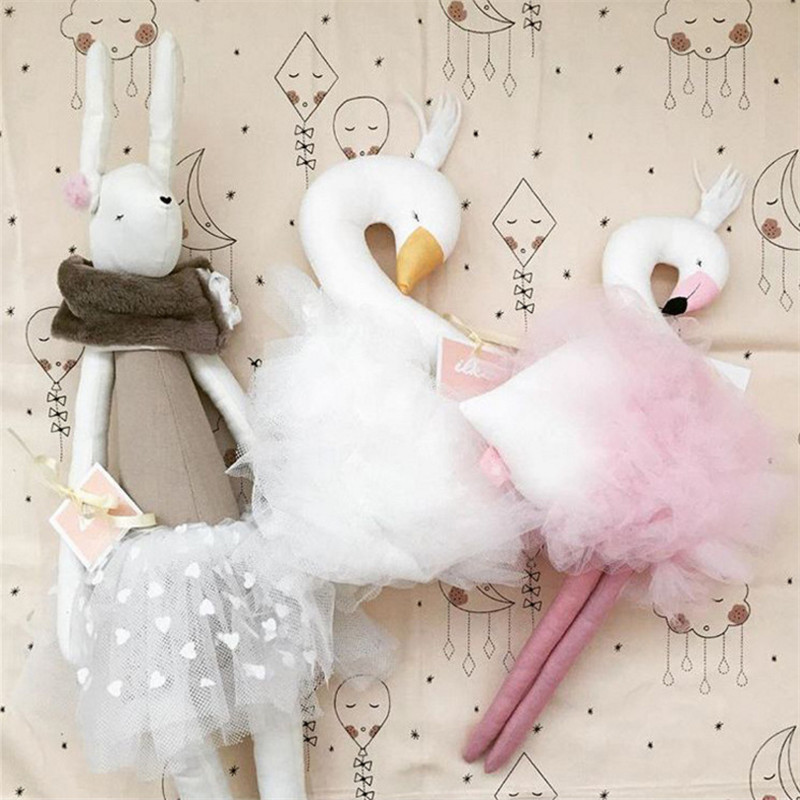 Hot Sale Swan Double-Side Printed Pillow Cushion For Girl Kids Bed Room Decorations Cushion Christmas/Birthday Best Gifts
