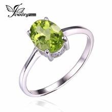 JewelryPalace 1.4ct Naturales Oval Verde Peridot Birthstone Anillo Solitario Joyería Genuina Plata de Ley 925 de Compromiso de Las Mujeres