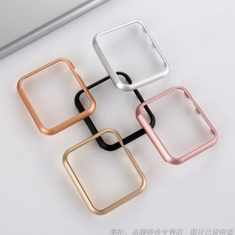 New Stainless Steel Alloy Metal Frame Holder Shell Case For Apple Watch iWatch 38mm 42mm Protector Case Rose Gold Black Silver metal ring holder for smartphones silver