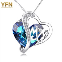 Mother S Day Gifts YFN Geniuses 925 Sterling Silver Ocean Blue Austrian Crystal Mom Letter Pendant
