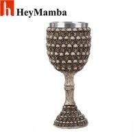 HeyMamba Retro Stainless Steel Beer Steins 3D Skull Wine Goblet Wine Glasses Whiskey Cup Beer Cup