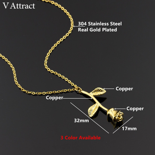 V Attract Silver Collier Femme Stainless Steel Long Chain Collier Pink Rose Flower Statement Necklace Women Jewelry Maxi Choker 2