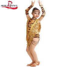 Free shipping Fashion sequins Tassel Tiger pattern Competition Latin Dance Dress for Kids Backless Latin stage dance leotard