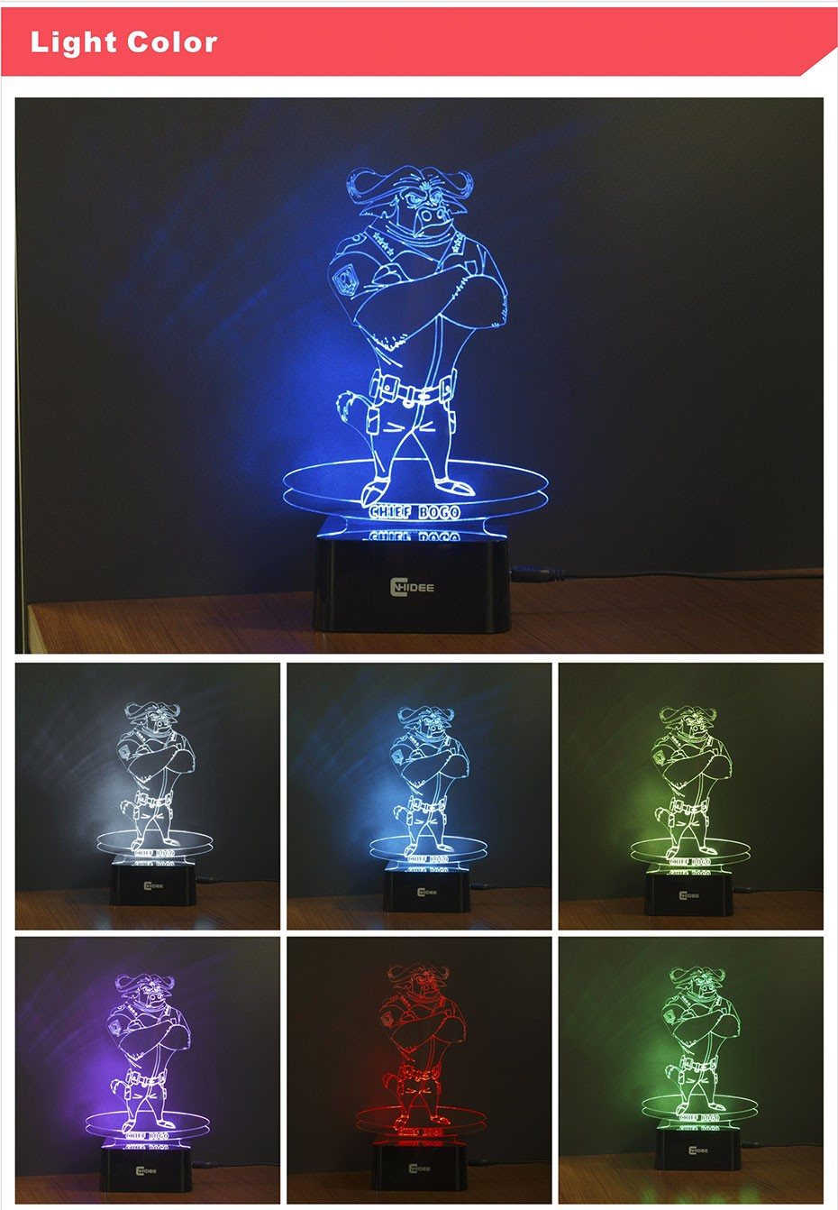 USB Novelty for Zootopia Chief Bogo Baby 3D Night Light Bedroom Decor Besides Desk Table LED Lamp 7 Clors Changeable (3)