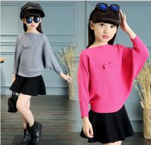 2017 New Korean Spring Bat Bow Shirt Knitted Baby Girls Sweaters S027