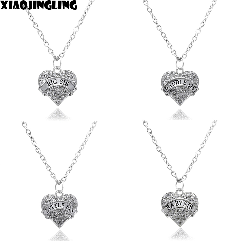 XIAOJINGLING Fashion White Crystal Necklace Big/Middle Sis Little Sis Baby Sis Family Party Gift Necklace For Women Jewelry Gift