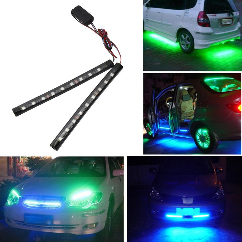 VODOOL Car Styling Auto Light 12V LED SMD 5050 RGB Stripe Light Car Interior Decor Atmosphere Lamp 2x9LED
