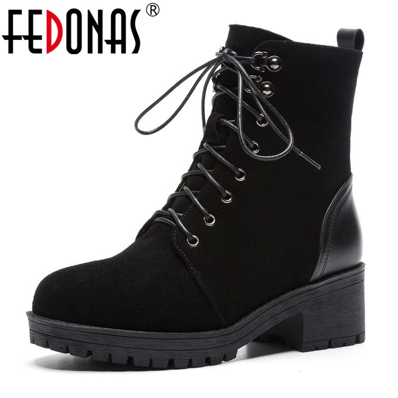 FEDONAS Fashion New Ankle Boots For Women Thick High Heels Lace Up Martin Shoes Woman Round Toe Platforms 2019 Casual Shoes