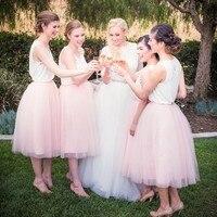 Sweet Pink Tea Length Tulle Skirts For Bridesmaid Fashion Mid Calf Tulle Skirt Women Zipper Custom