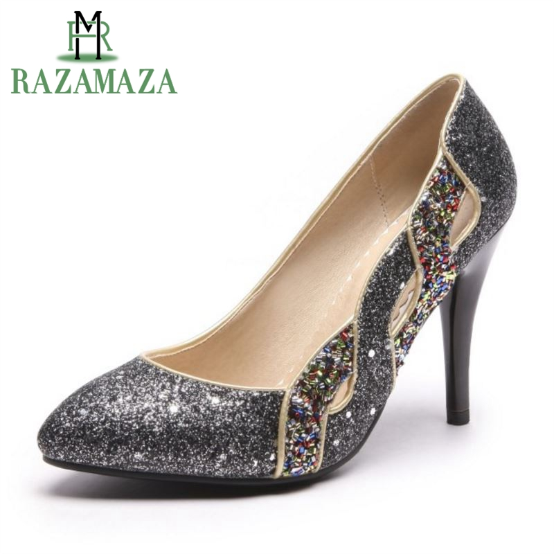 RAZAMAZA Size 32-44 Elegant Women Shine High Heel Shoes Women Pointed Toe Hallow Out Thin Heel Pumps Party Club Women Footwears
