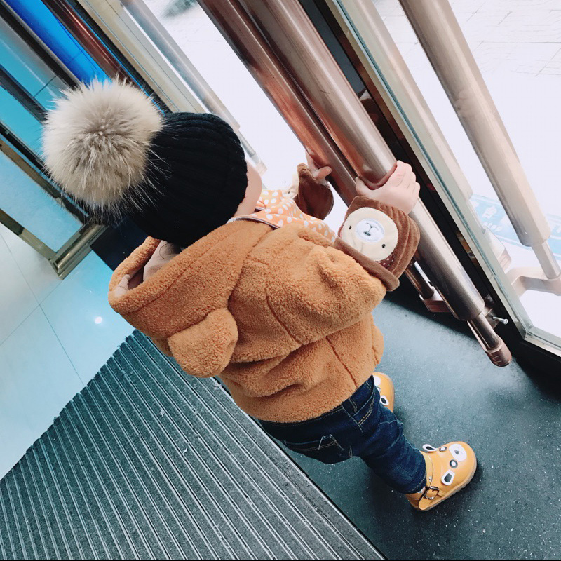 2018 New style Fashion Winter spring hats For Children Hat   Skullies     Beanies   15cm pompom fur Hat For Girls Cap bonnet enfant